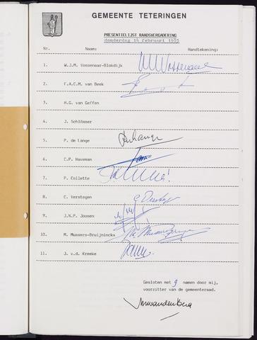 Teteringen - Notulen en bijlagen van de gemeenteraad 1985-02-14