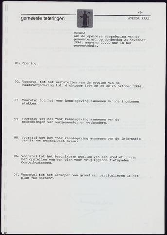 Teteringen - Notulen en bijlagen van de gemeenteraad 1994-11-24