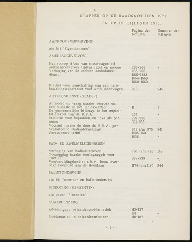 Breda - Indexen op de notulen van de gemeenteraad 1971-01-01