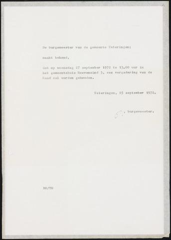 Teteringen - Notulen en bijlagen van de gemeenteraad 1972-09-27