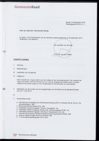 Breda - Bijlagen bij de notulen van de gemeenteraad 2010-09-30