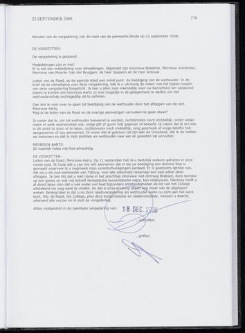 Breda - Notulen van de gemeenteraad 2008-09-22