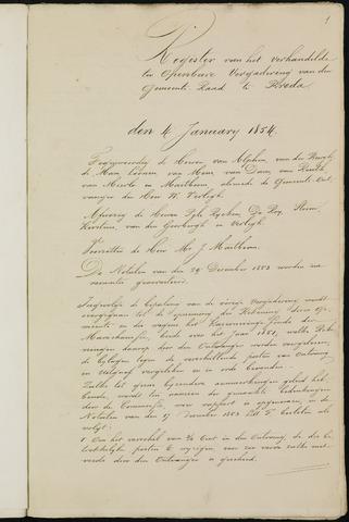 Breda - Notulen van de gemeenteraad 1854-01-01