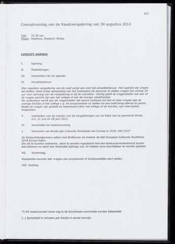 Breda - Notulen van de gemeenteraad 2012-08-30