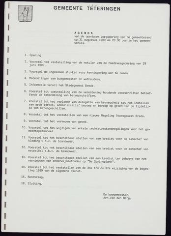 Teteringen - Notulen en bijlagen van de gemeenteraad 1989-08-31