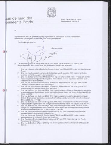 Breda - Bijlagen bij de notulen van de gemeenteraad 2005-09-25
