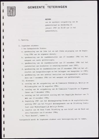 Teteringen - Notulen en bijlagen van de gemeenteraad 1987