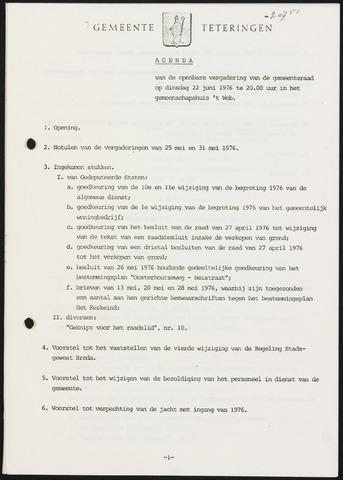 Teteringen - Notulen en bijlagen van de gemeenteraad 1976-06-22