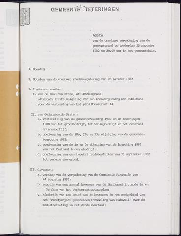 Teteringen - Notulen en bijlagen van de gemeenteraad 1982-11-25
