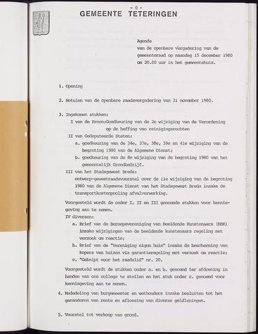 Teteringen - Notulen en bijlagen van de gemeenteraad 1980-12-15