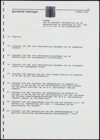 Teteringen - Notulen en bijlagen van de gemeenteraad 1994-06-30