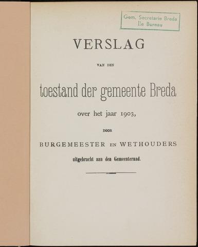 Breda - Verslagen van de toestand van de gemeente 1903