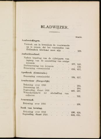 Breda - Indexen op de notulen van de gemeenteraad 1917-01-01