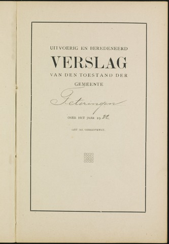 Teteringen - Verslagen van de toestand van de gemeente 1922