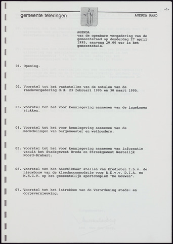 Teteringen - Notulen en bijlagen van de gemeenteraad 1995-04-27