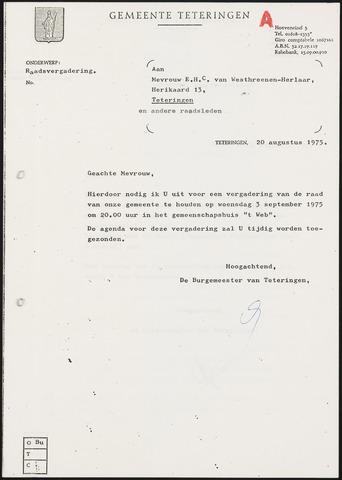 Teteringen - Notulen en bijlagen van de gemeenteraad 1975-09-03
