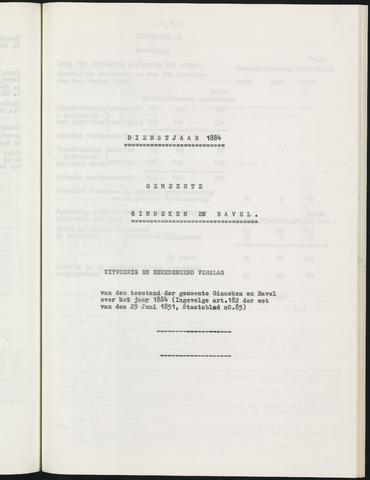Ginneken en Bavel - Verslagen van de toestand van de gemeente 1884