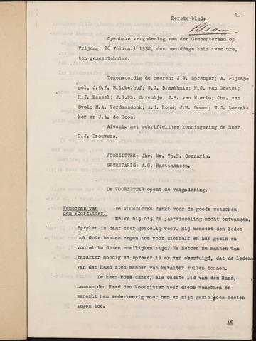Ginneken en Bavel - Notulen van de gemeenteraad 1932-01-01
