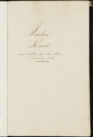 Breda - Indexen op de notulen van de gemeenteraad 1851-01-01