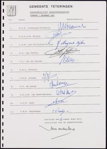Teteringen - Notulen en bijlagen van de gemeenteraad 1987-12-01