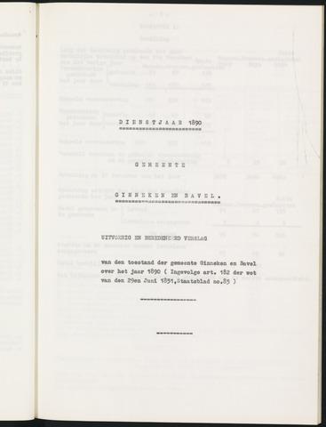 Ginneken en Bavel - Verslagen van de toestand van de gemeente 1890