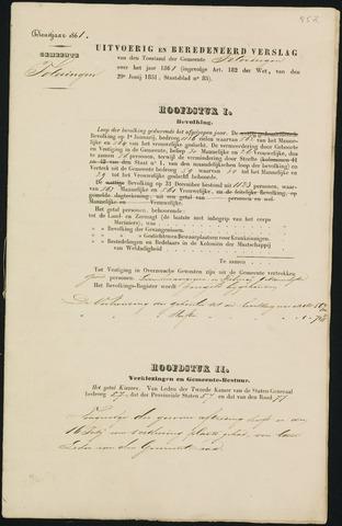 Teteringen - Verslagen van de toestand van de gemeente 1861-01-01