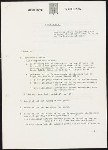 Teteringen - Notulen en bijlagen van de gemeenteraad 1971-09-10