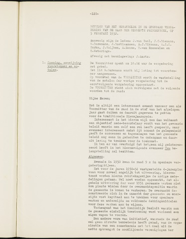 Prinsenbeek - Notulen van de gemeenteraad 1952-01-01