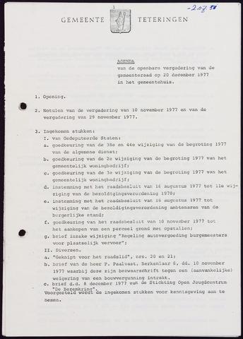 Teteringen - Notulen en bijlagen van de gemeenteraad 1977-12-20