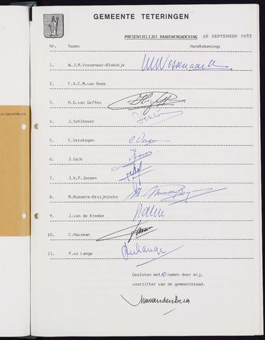 Teteringen - Notulen en bijlagen van de gemeenteraad 1985-09-26