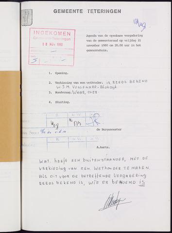 Teteringen - Notulen en bijlagen van de gemeenteraad 1980-11-21