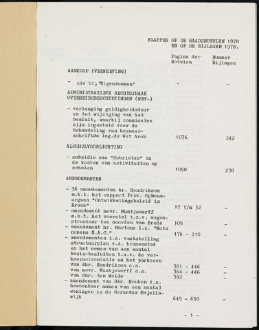 Breda - Indexen op de notulen van de gemeenteraad 1978-01-01