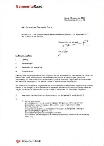 Breda - Bijlagen bij de notulen van de gemeenteraad 2015-09-24