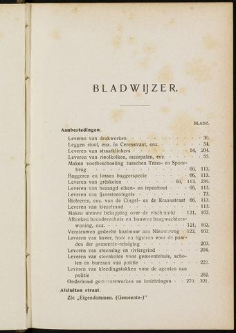 Breda - Indexen op de notulen van de gemeenteraad 1905