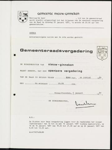 Nieuw-Ginneken - Notulen en bijlagen van de gemeenteraad 1987-01-01