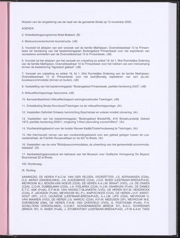 Breda - Notulen van de gemeenteraad 2005-11-10