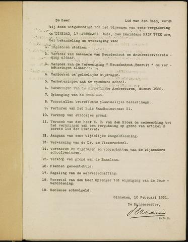 Ginneken en Bavel - Bijlagen bij de notulen van de gemeenteraad 1931-01-01