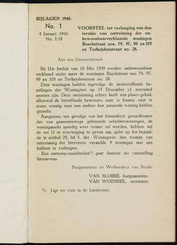 Breda - Bijlagen bij de notulen van de gemeenteraad 1940