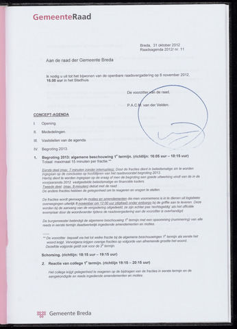 Breda - Bijlagen bij de notulen van de gemeenteraad 2012-11-08