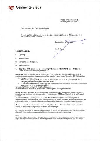 Breda - Bijlagen bij de notulen van de gemeenteraad 2015-11-12
