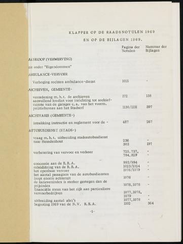 Breda - Indexen op de notulen van de gemeenteraad 1969-01-01