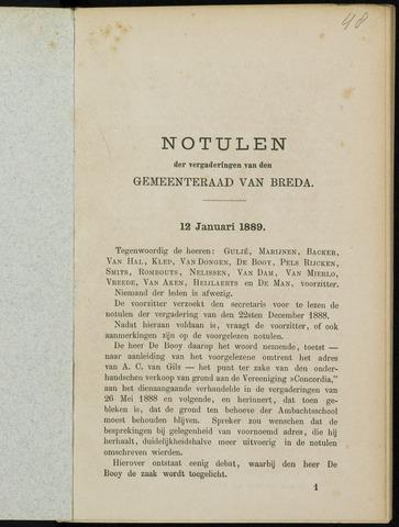 Breda - Notulen van de gemeenteraad 1889-01-01