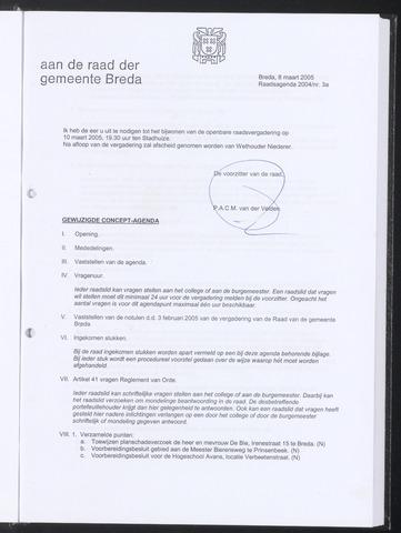 Breda - Bijlagen bij de notulen van de gemeenteraad 2005-03-08
