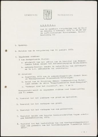 Teteringen - Notulen en bijlagen van de gemeenteraad 1972-02-01