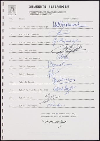 Teteringen - Notulen en bijlagen van de gemeenteraad 1987-03-26