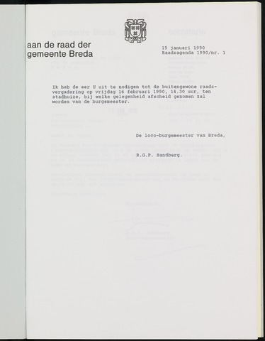 Breda - Bijlagen bij de notulen van de gemeenteraad 1990