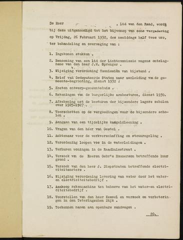 Ginneken en Bavel - Bijlagen bij de notulen van de gemeenteraad 1932-01-01