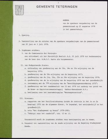Teteringen - Notulen en bijlagen van de gemeenteraad 1978-08-22