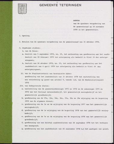 Teteringen - Notulen en bijlagen van de gemeenteraad 1978-11-28