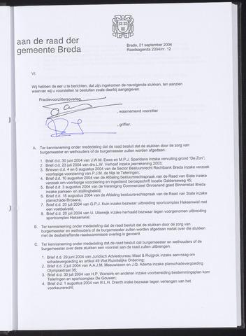Breda - Bijlagen bij de notulen van de gemeenteraad 2004-09-21